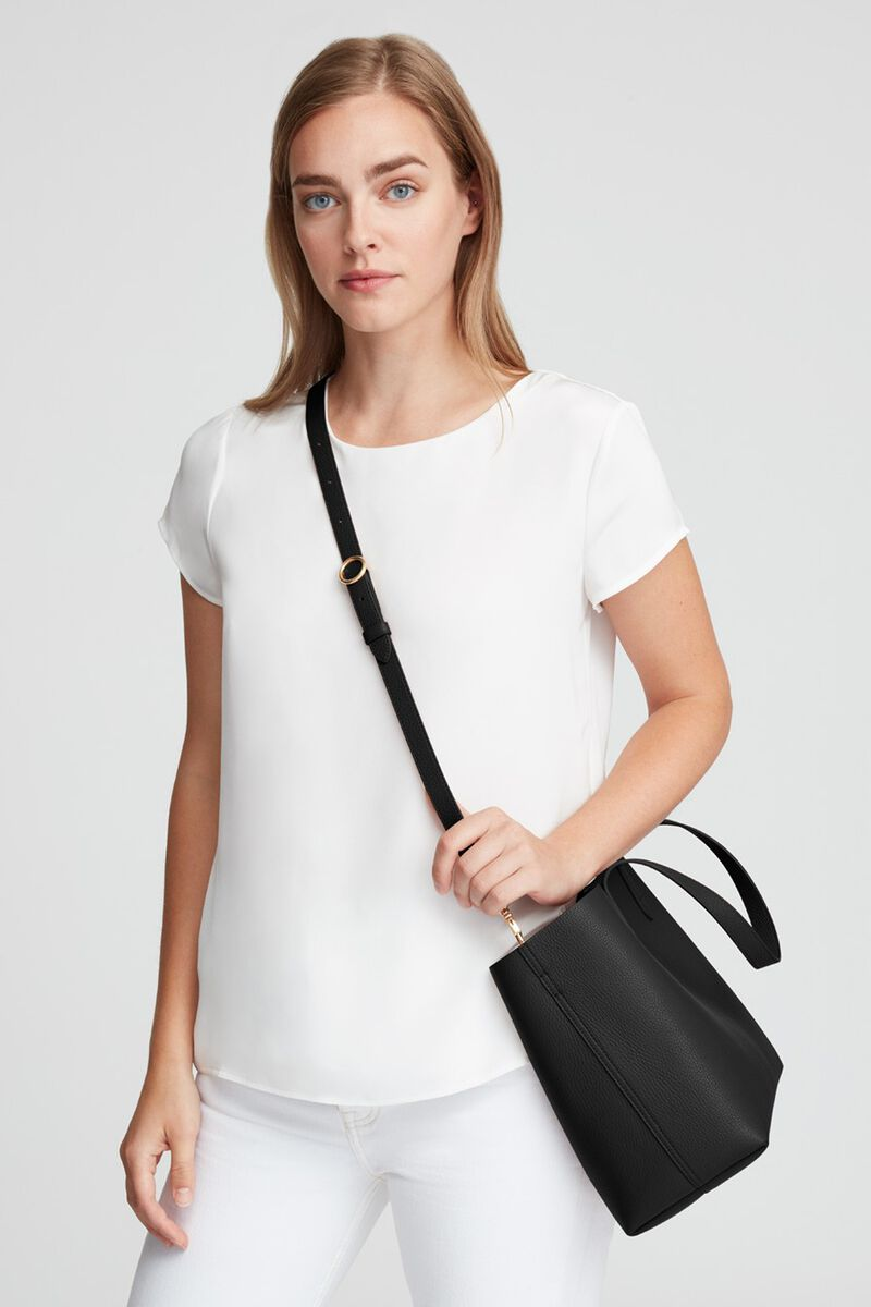 Small Structured Leather Tote in Black/Blush