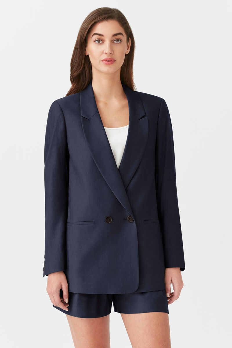 Linen Double-Breasted Blazer in Navy