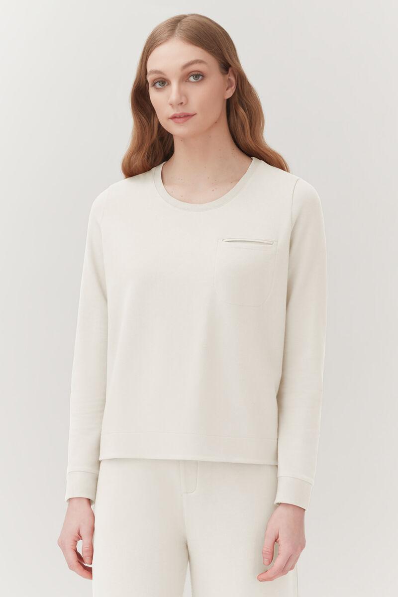 French Terry Pleat-Back Sweatshirt, Ecru, large