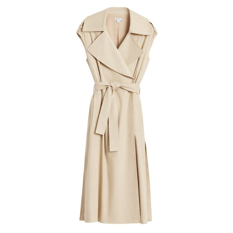 Linen Sleeveless Trench in Sand
