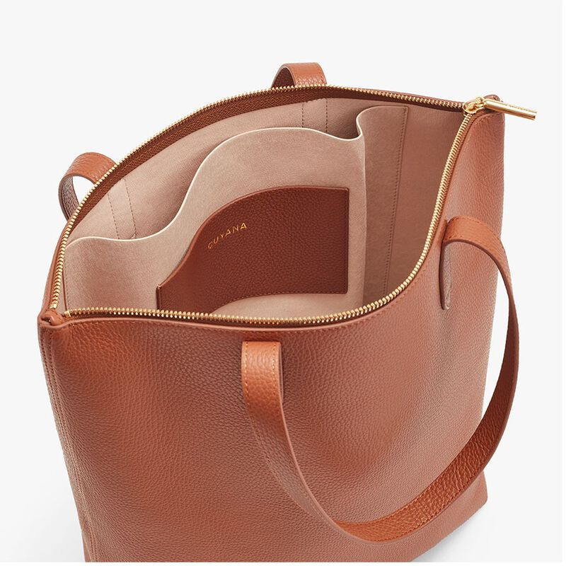 Tall Structured Leather Zipper Tote in Caramel