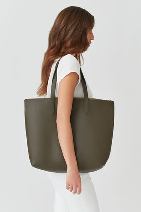 Classic Leather Zipper Tote, Dark Olive, plp