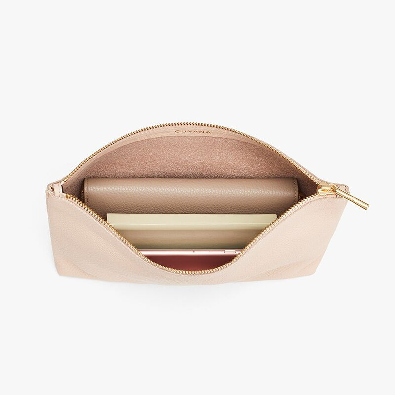 Medium Leather Zipper Pouch in Blush