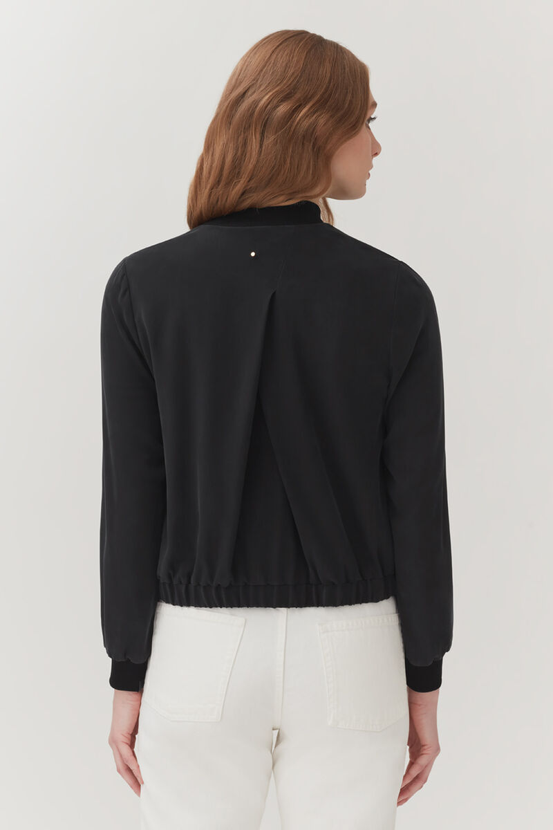 Washable Silk Bomber Black