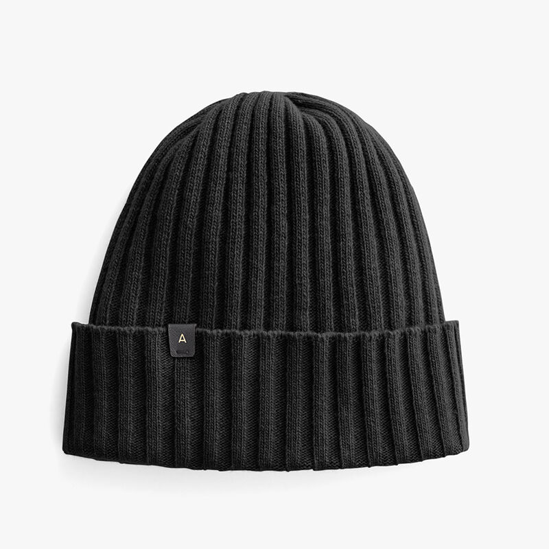 Men's Wool Cashmere Ribbed Beanie in Black