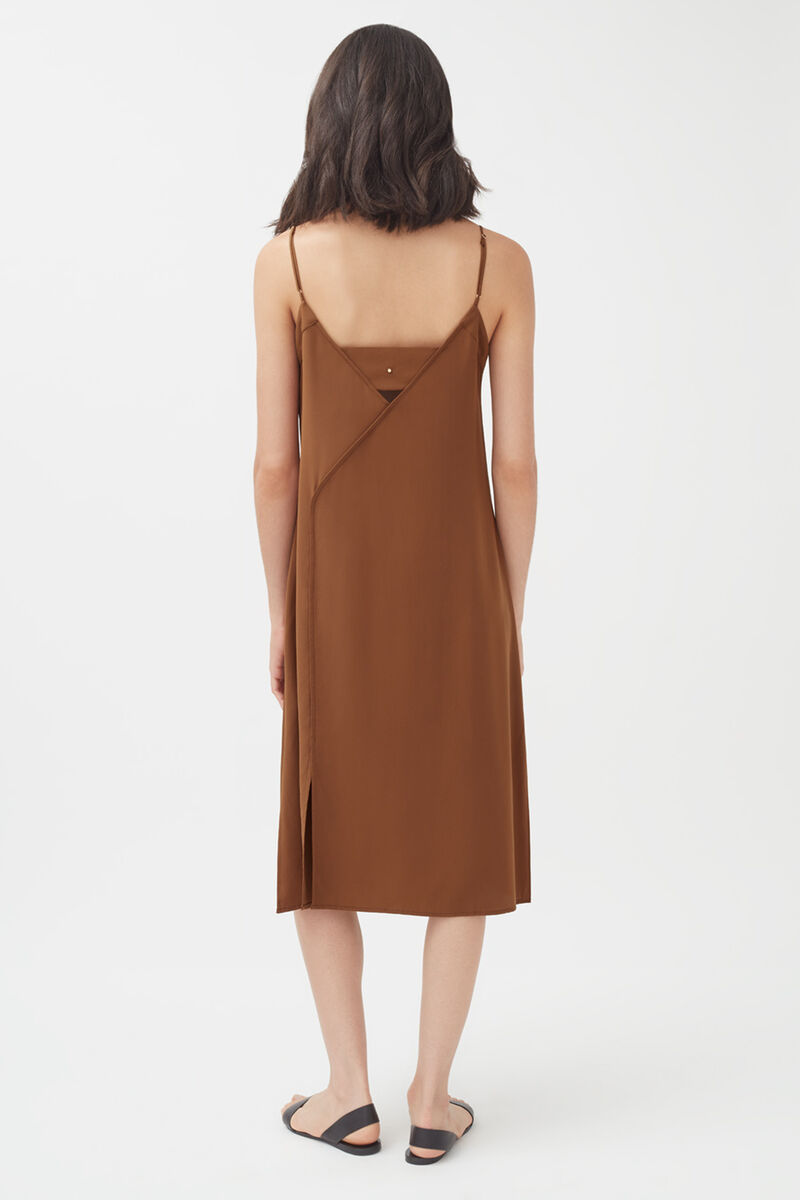 Silk Slip Dress in Chestnut