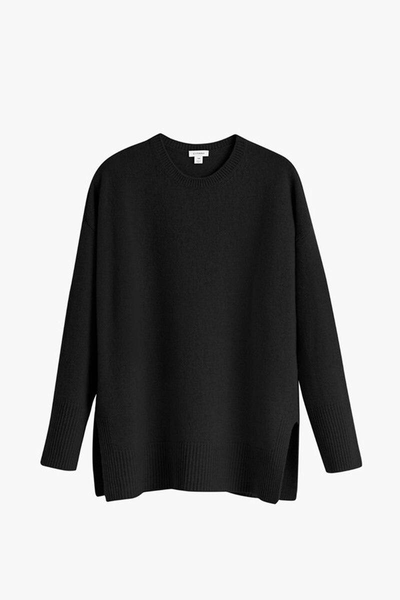 Recycled Cashmere Crewneck Sweater in Black
