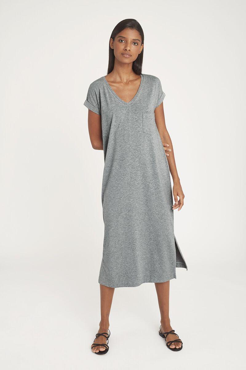 V-Neck Midi Dress in Heather Grey