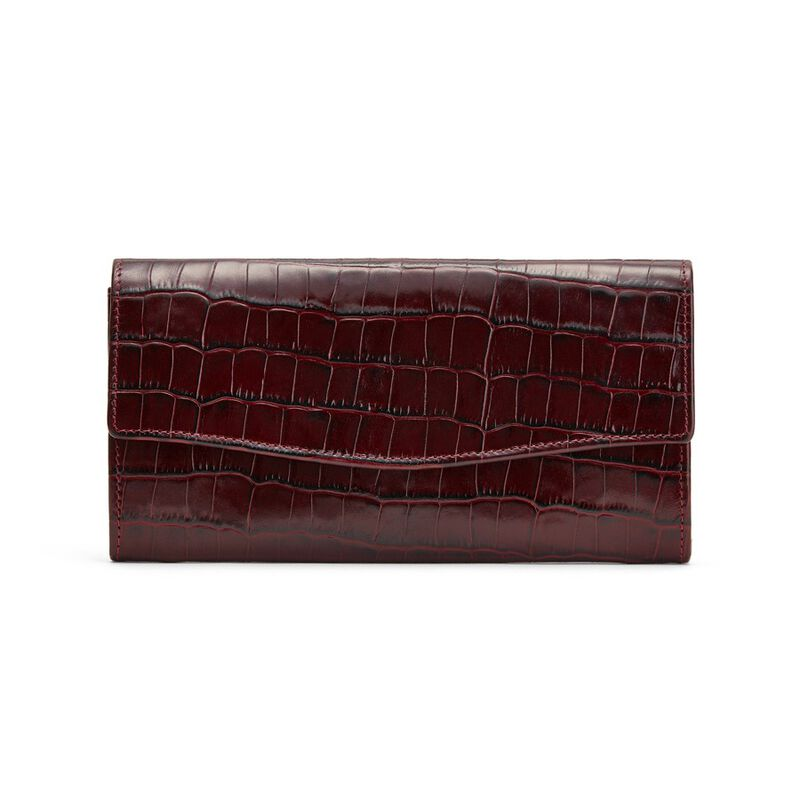 Classic Flap Wallet in Textured Burgundy