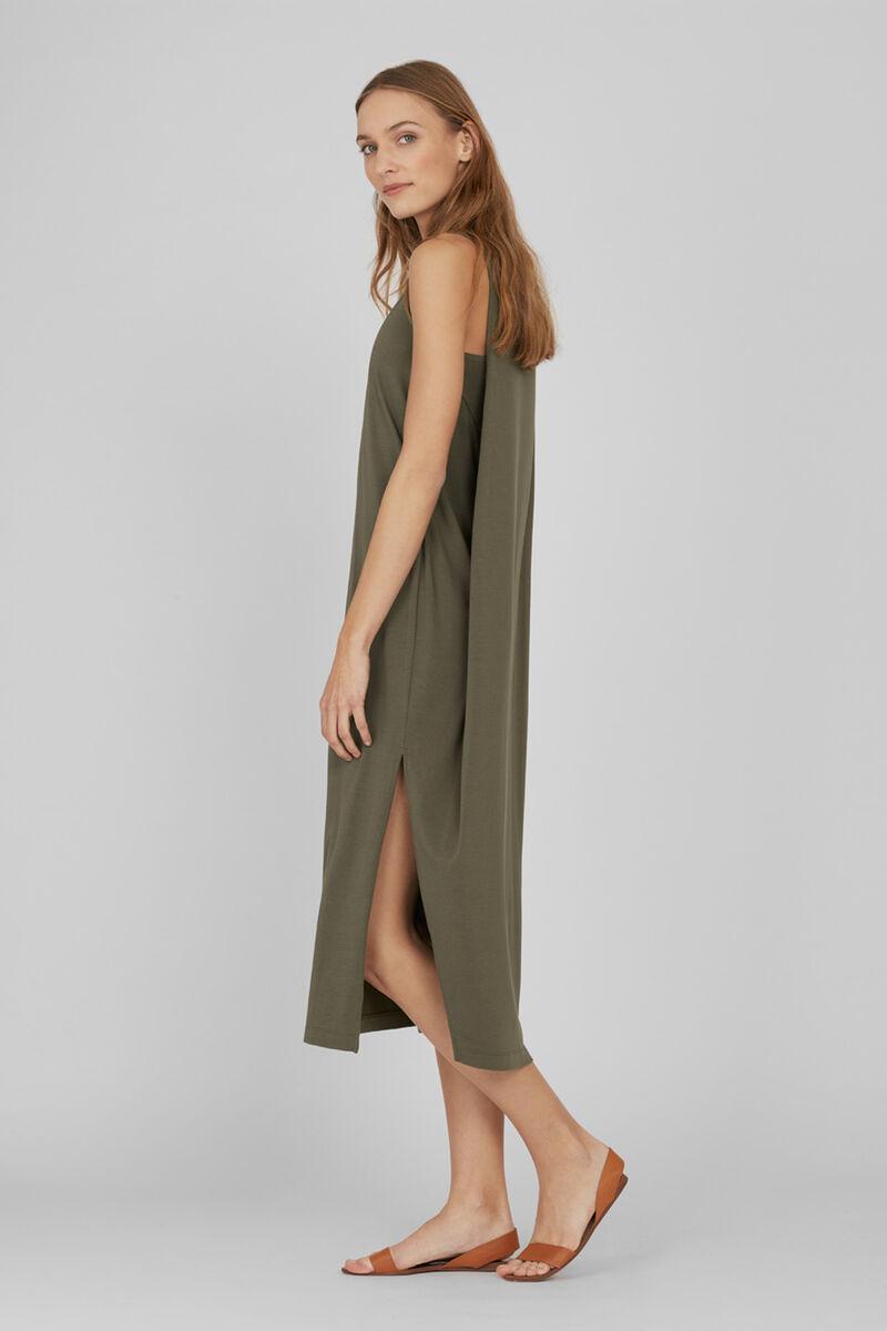 Drape-Back Dress in Olive