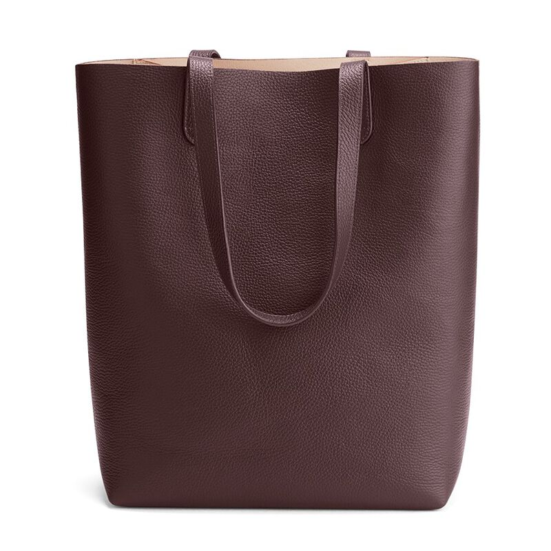 Tall Structured Leather Tote in Burgundy