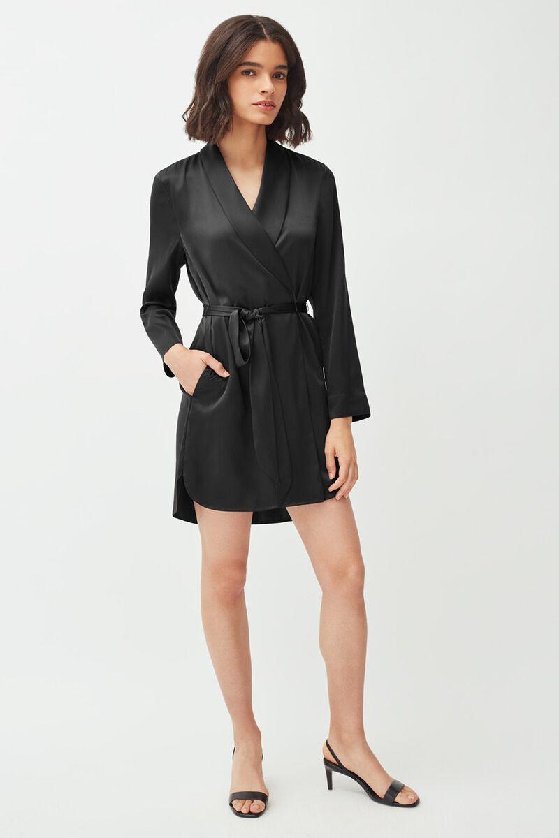 Washable Charmeuse Robe in Black