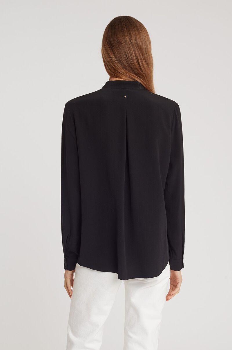 Silk Wrap Blouse in Black