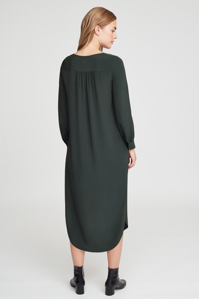 Silk High-Low Midi Dress in Forest
