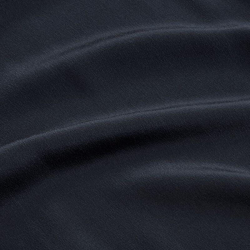 Silk Band Collar Shirt in Navy