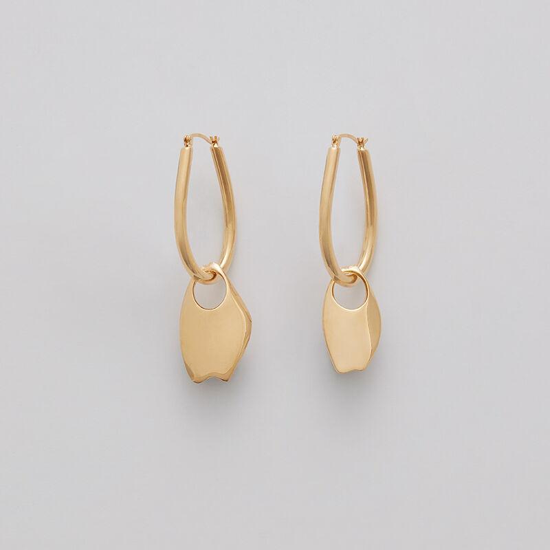 Asymmetrical Petal Hoop Earrings in Gold