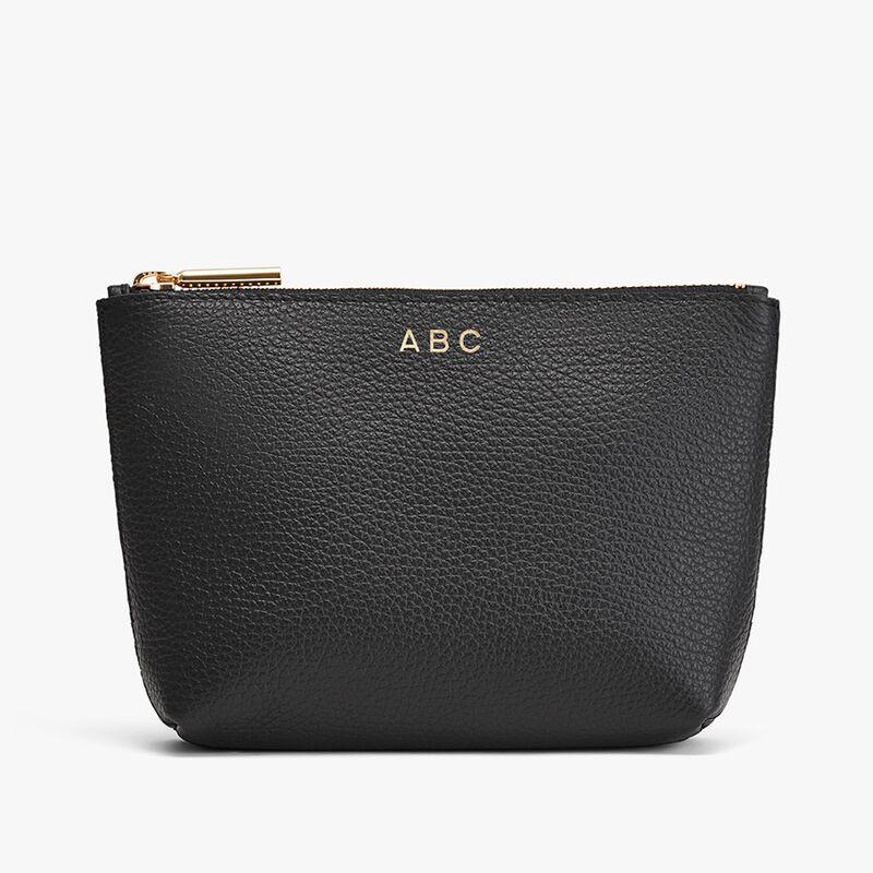 Mini Leather Zipper Pouch in Black