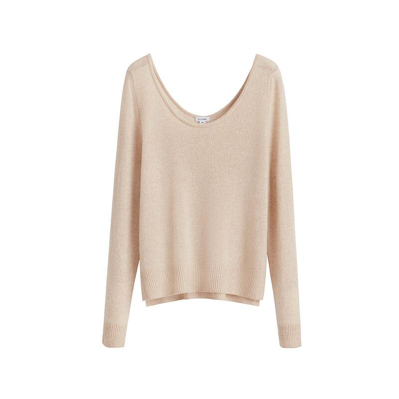 Single-Origin Cashmere Scoop Neck Sweater in Beige