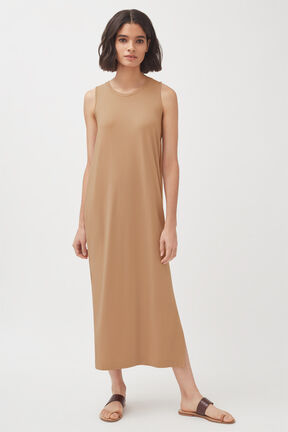 Drape-Back Dress, Camel, plp