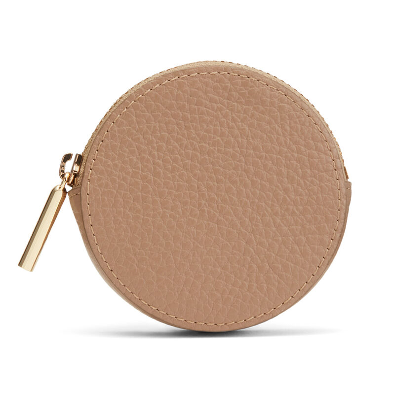 Leather Coin Pouch in Cappuccino