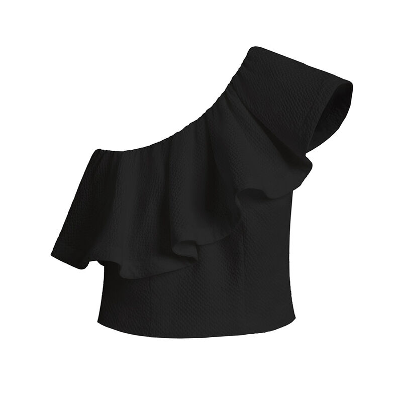 Cropped Flounce Top in Black