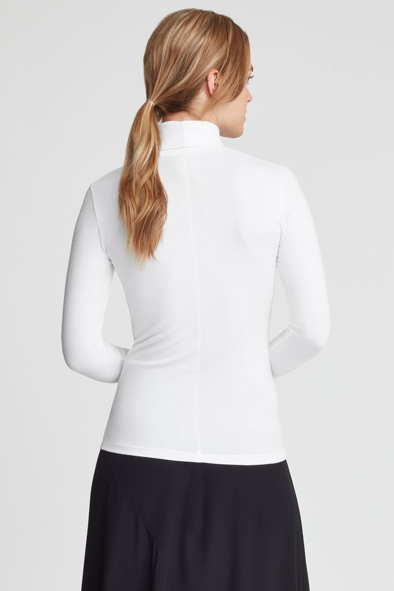 Slim Turtleneck Long Sleeve Tee in White