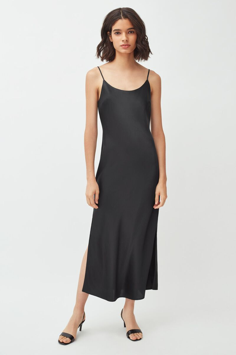 Charmeuse Slip Dress in Black