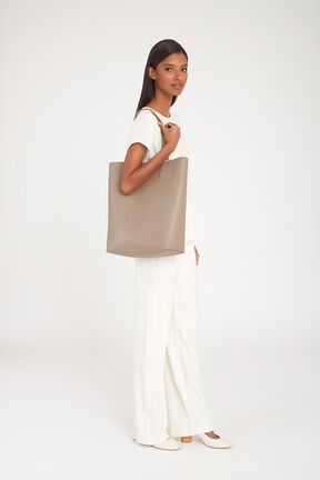 Tall Structured Leather Tote, Stone/Blush, plp