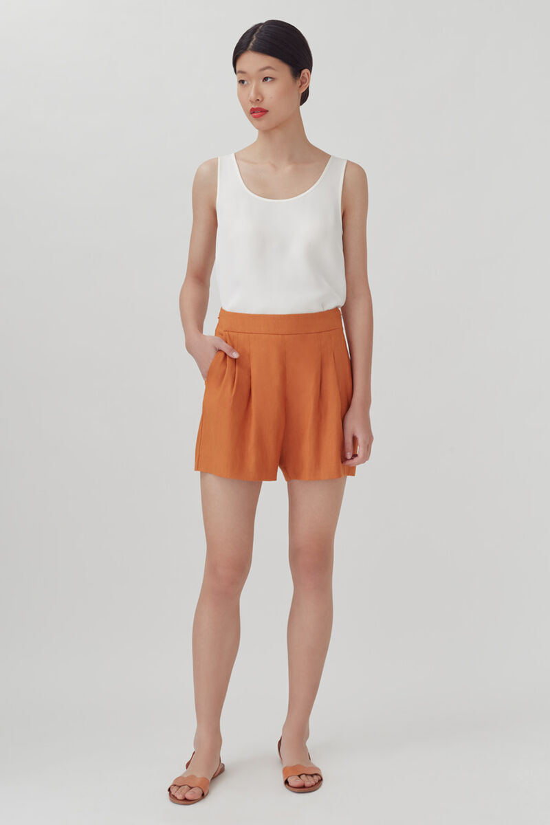 Linen Pleated Front Shorts in Burnt Orange