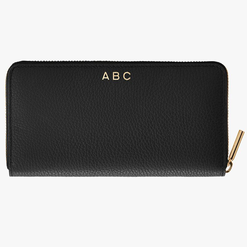 Classic Zip Around Wallet in Black/Red