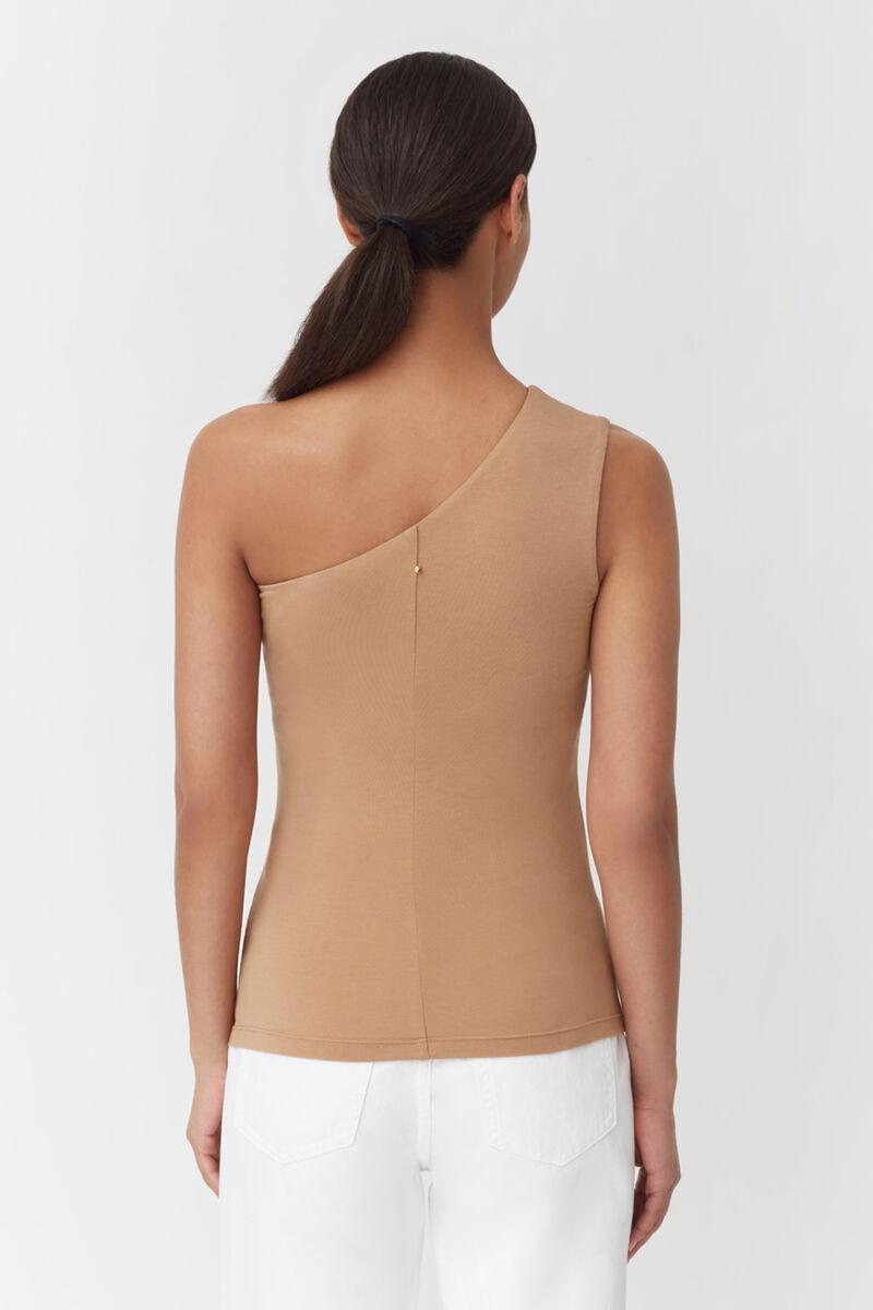 Slim One Shoulder Top, Camel, large