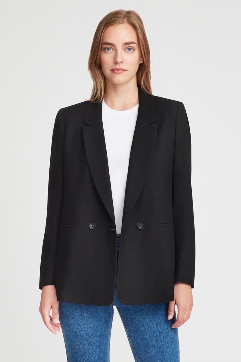 Wool Double-Breasted Blazer in Black