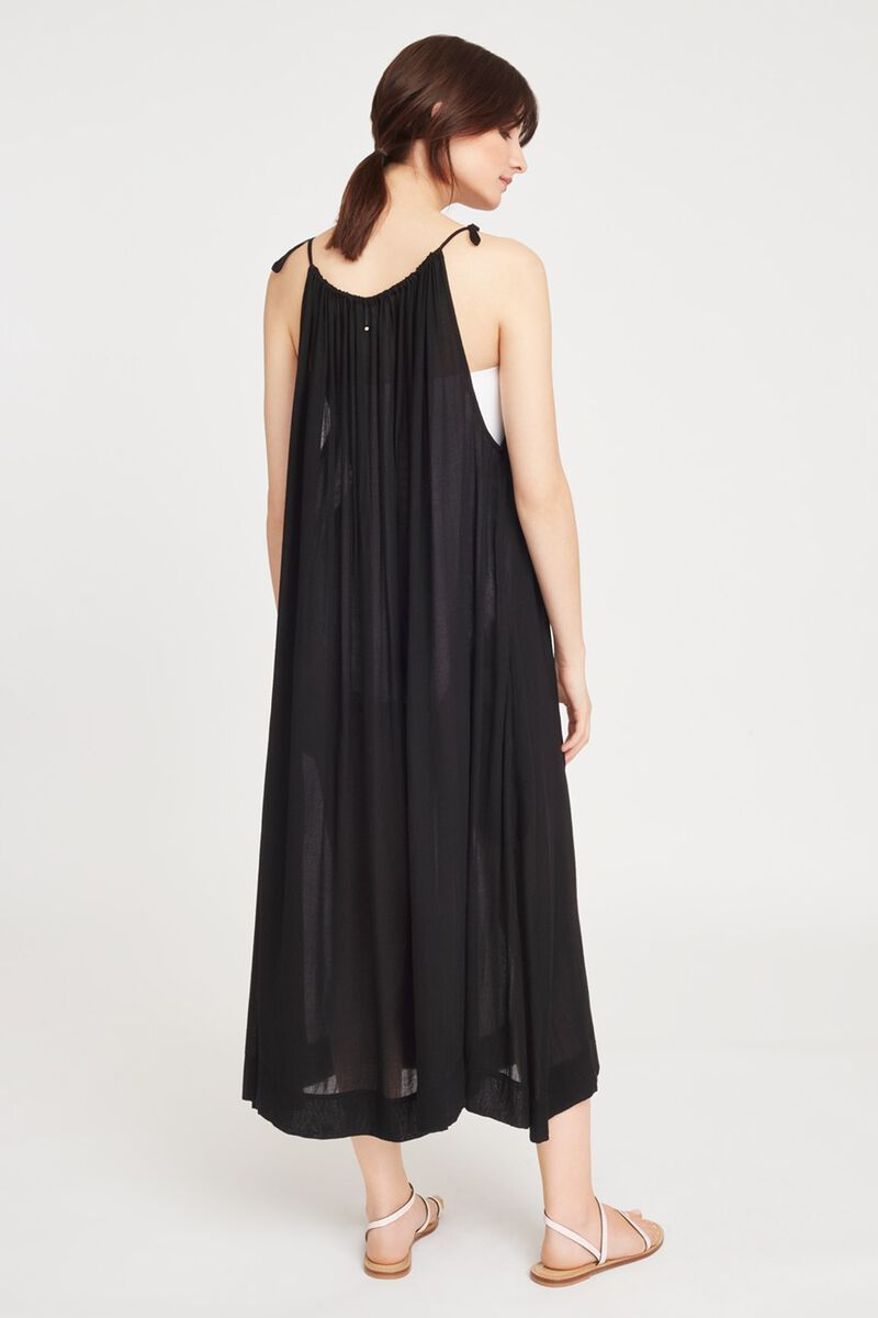 Gathered-Neck Maxi Coverup in Black