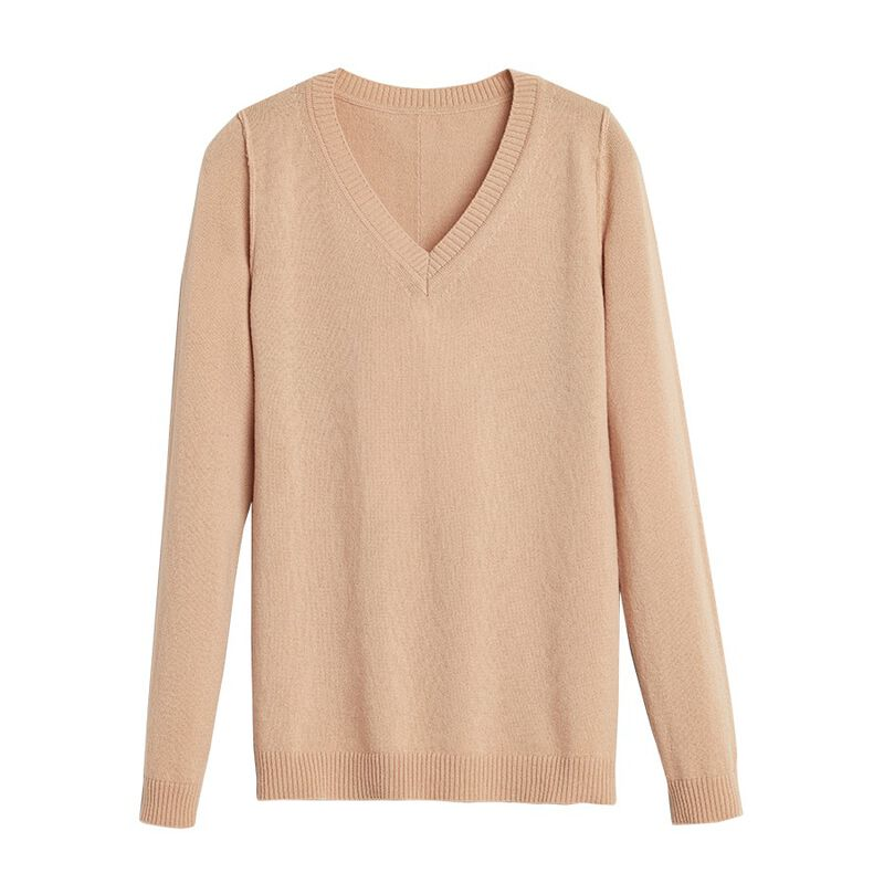 Wool Cashmere Slim V-Neck Sweater in Camel