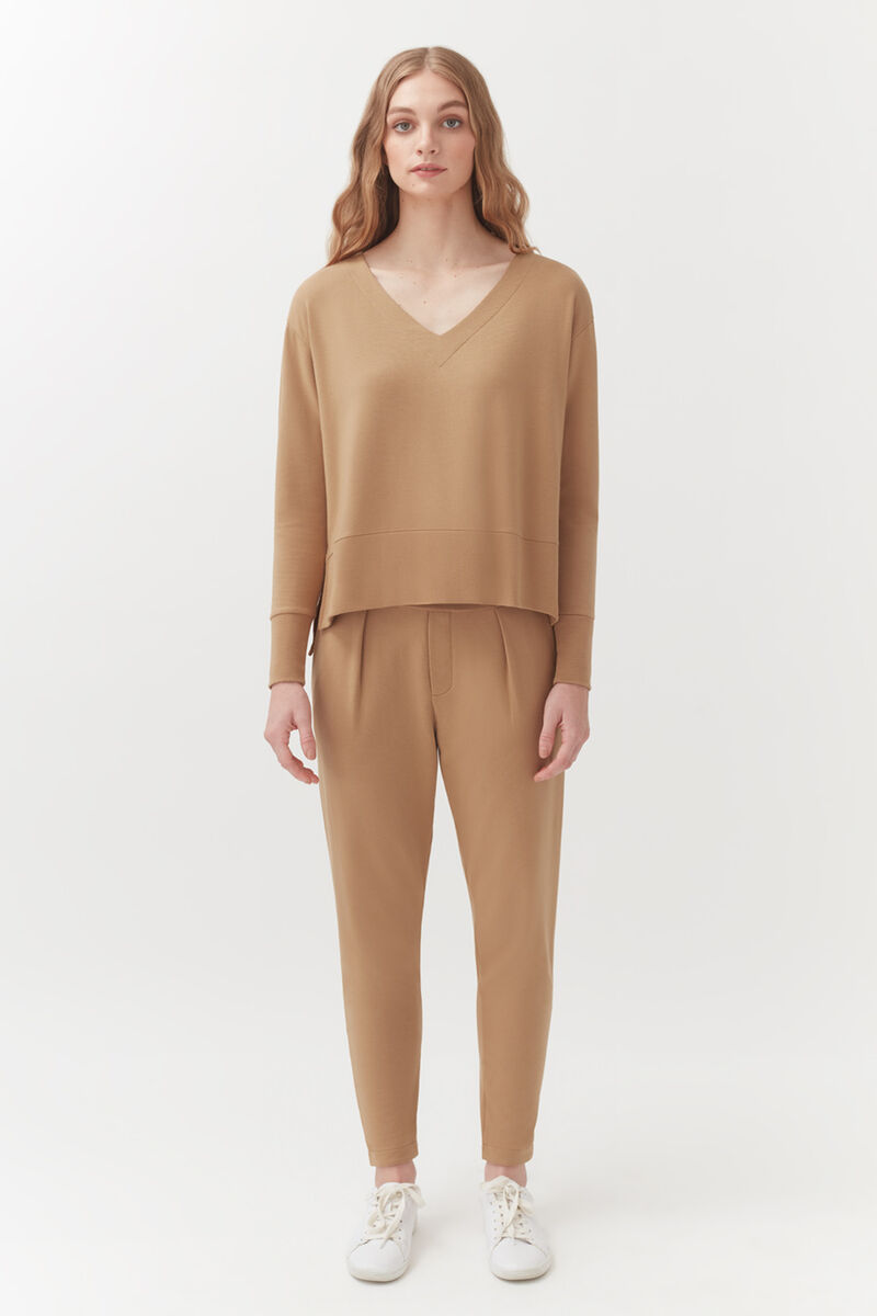French Terry Pleated Front Pant in Camel