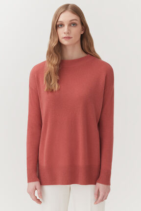 Single-Origin Cashmere Funnel Neck Sweater in Passion Fruit