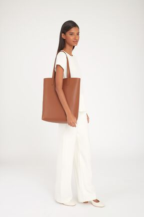 Tall Structured Leather Tote, Caramel/Blush, plp
