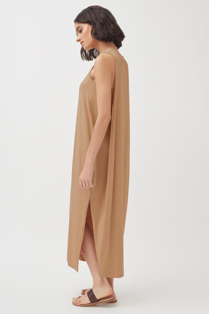 Drape-Back Dress, Camel, large