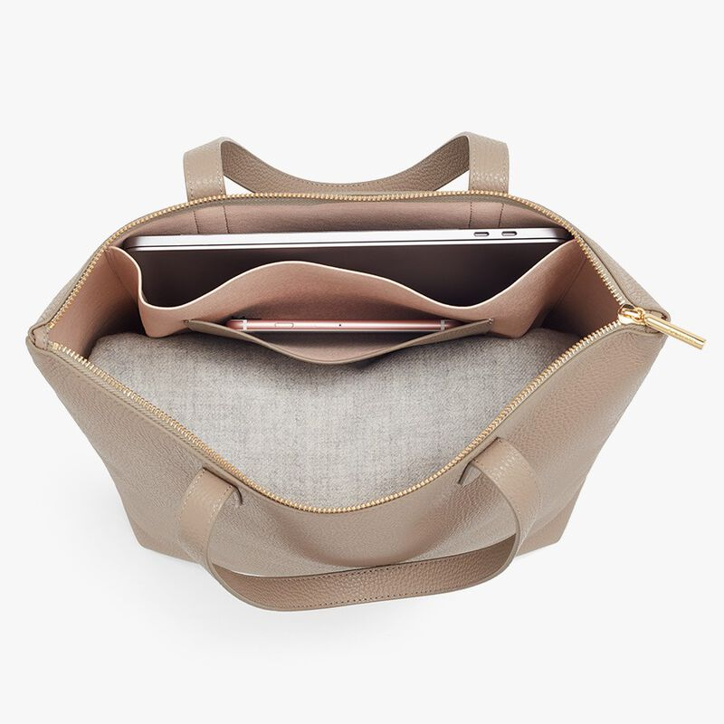 Tall Structured Leather Zipper Tote in Stone