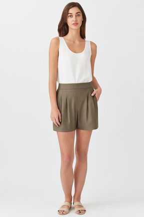 Linen Pleated Front Shorts