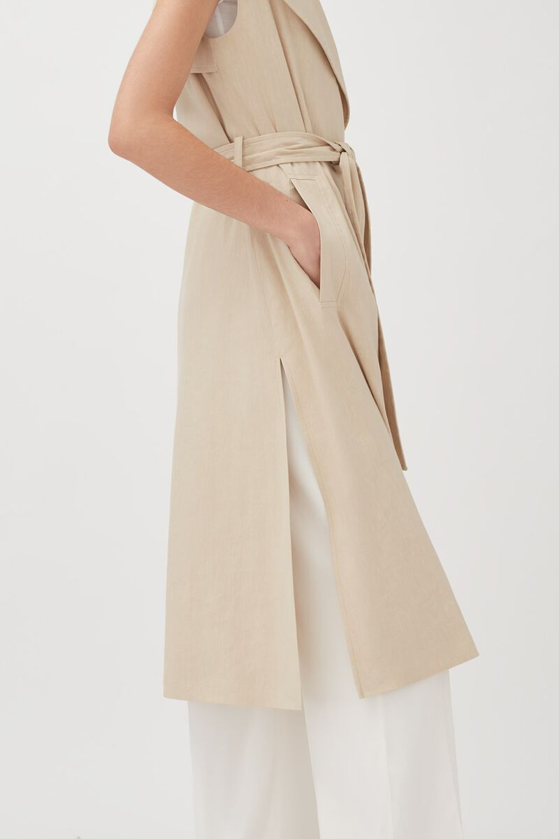 Linen Sleeveless Trench, Sand, large