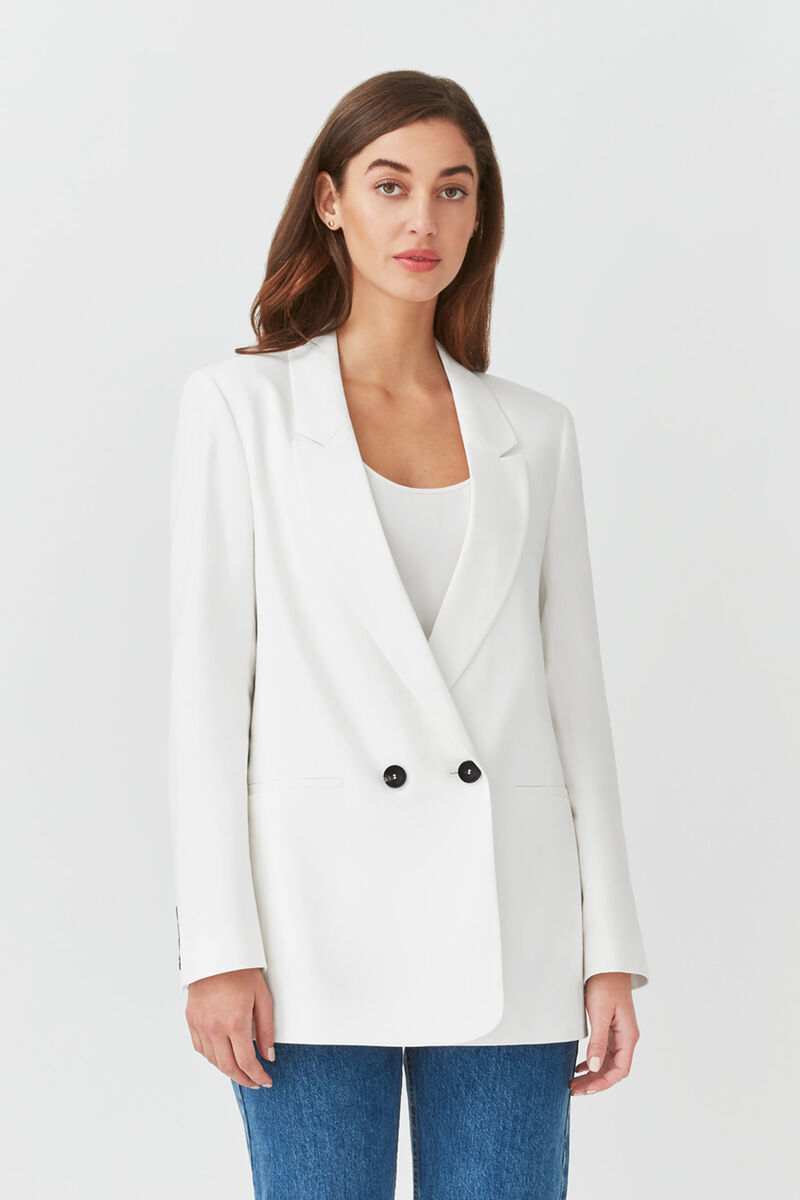 Linen Double-Breasted Blazer in White