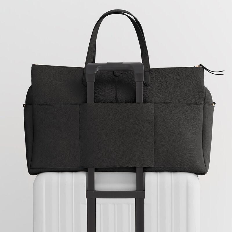 Leather Triple Zipper Weekender in Black