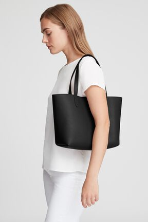 Small Structured Leather Tote, Black/Blush, plp