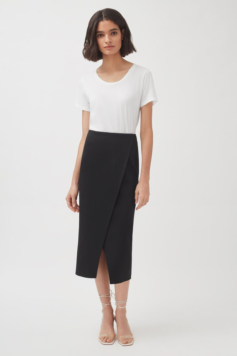 Cotton Twill Paneled Skirt, Black, large