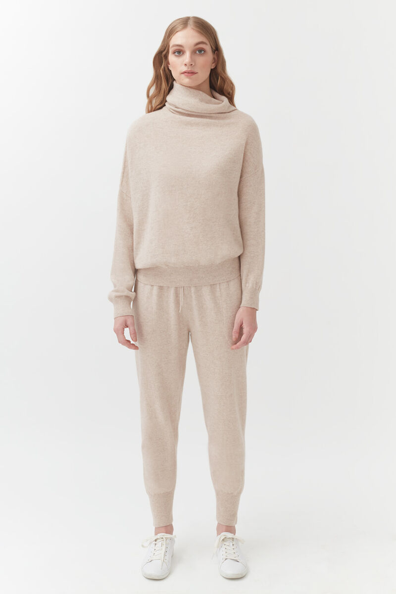 Cashmere Tapered Pant in Beige