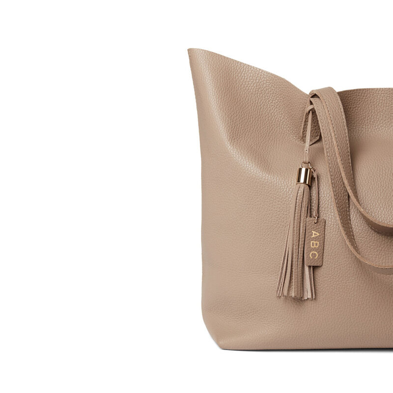 Leather Bag Tassel in Stone