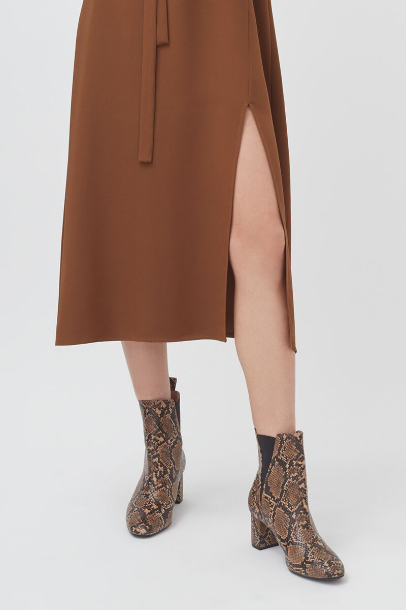 Silk Fit-and-Flare Dress in Chestnut