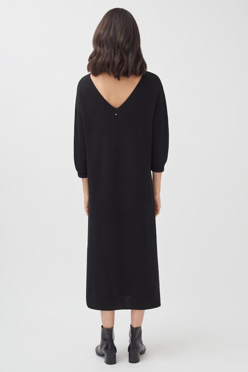 Alpaca V-Back Sweater Dress in Black