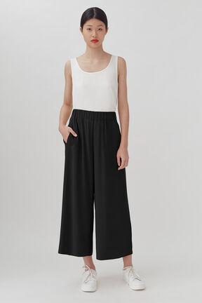 Washable Silk Wide-Leg Cropped Pant, Black, plp